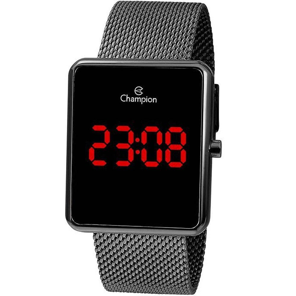 Relógio Champion LED Digital Unissex CH40080C Quadrado Grafite - LED Vermelho