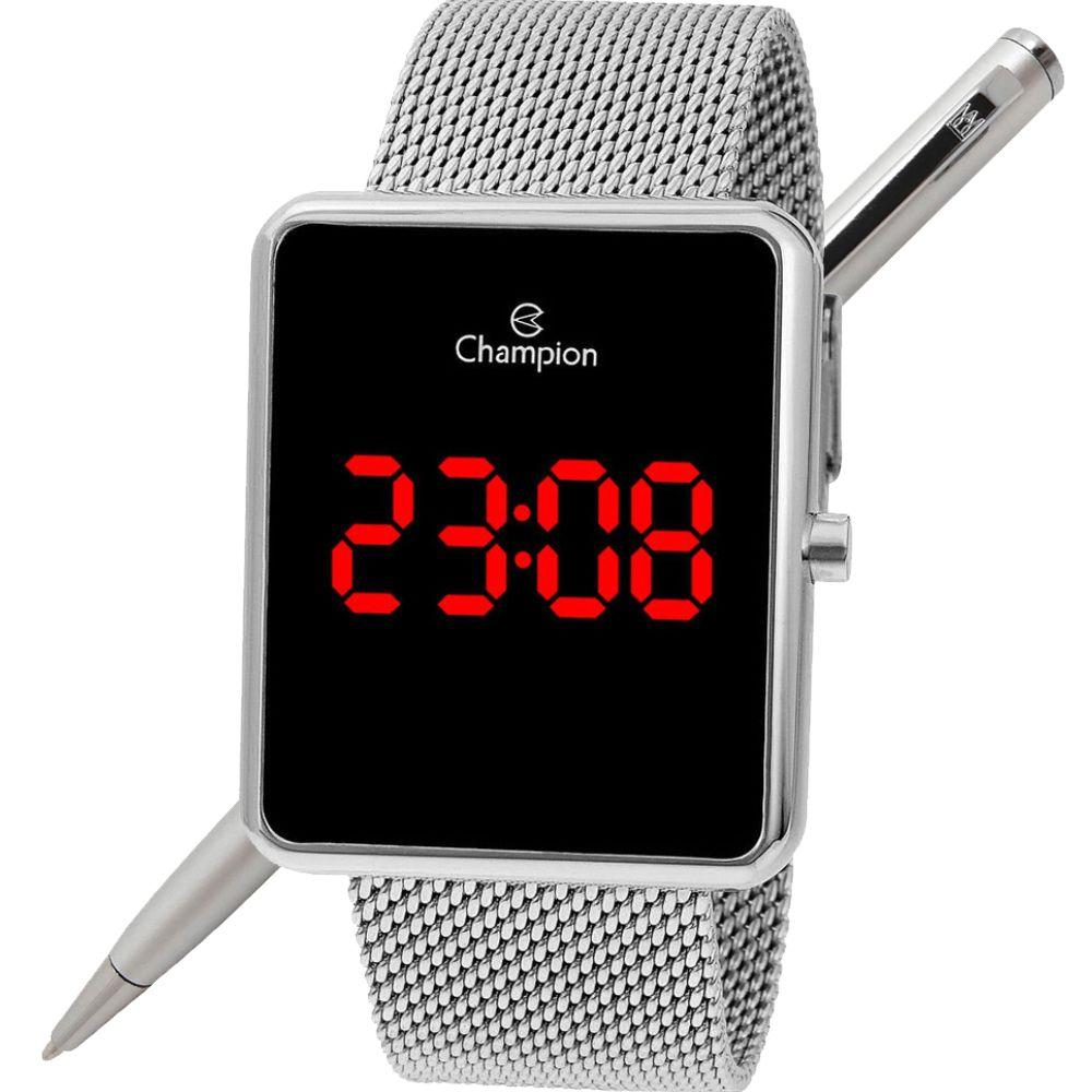 Relógio Champion LED Digital Unissex CH40080T Quadrado Prateado - LED Vermelho