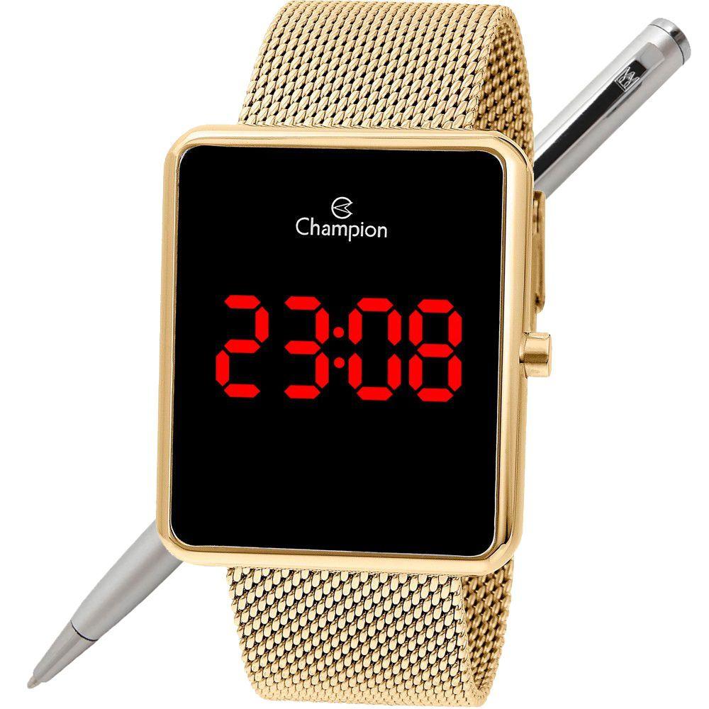 Relógio Champion Led Digital Unissex CH40080V Quadrado Dourado - LED Vermelho