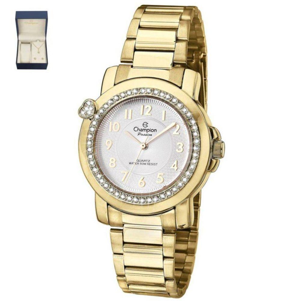 Relógio Champion Passion Dourado Feminino + semi jóia CN28660W