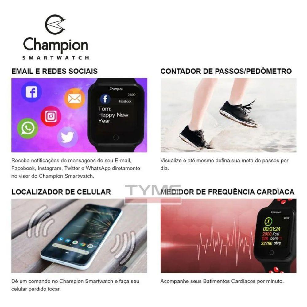 Relógio Champion Smartwatch Bluetooth 4.0 CH50006B Dourado/Branco