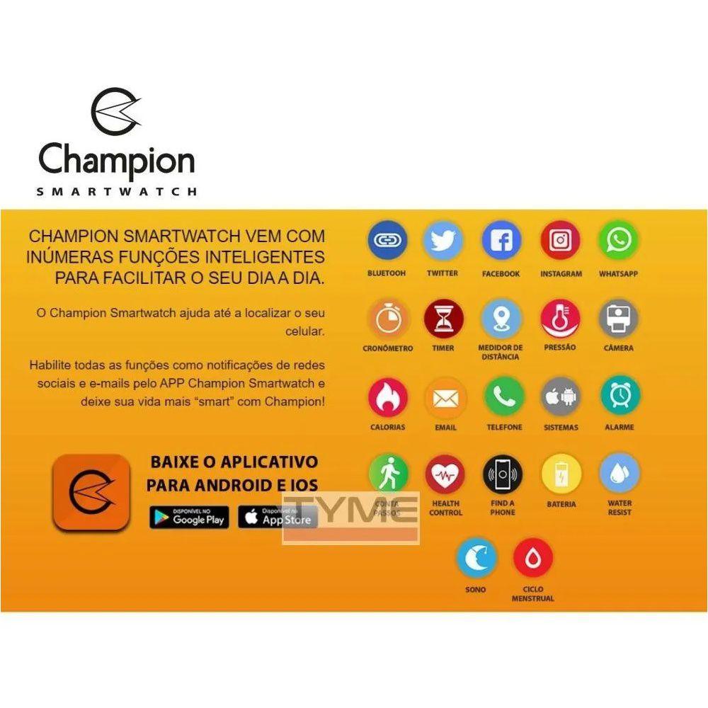 Relógio Champion Smartwatch Bluetooth 4.0 CH50006U Dourado/Preto