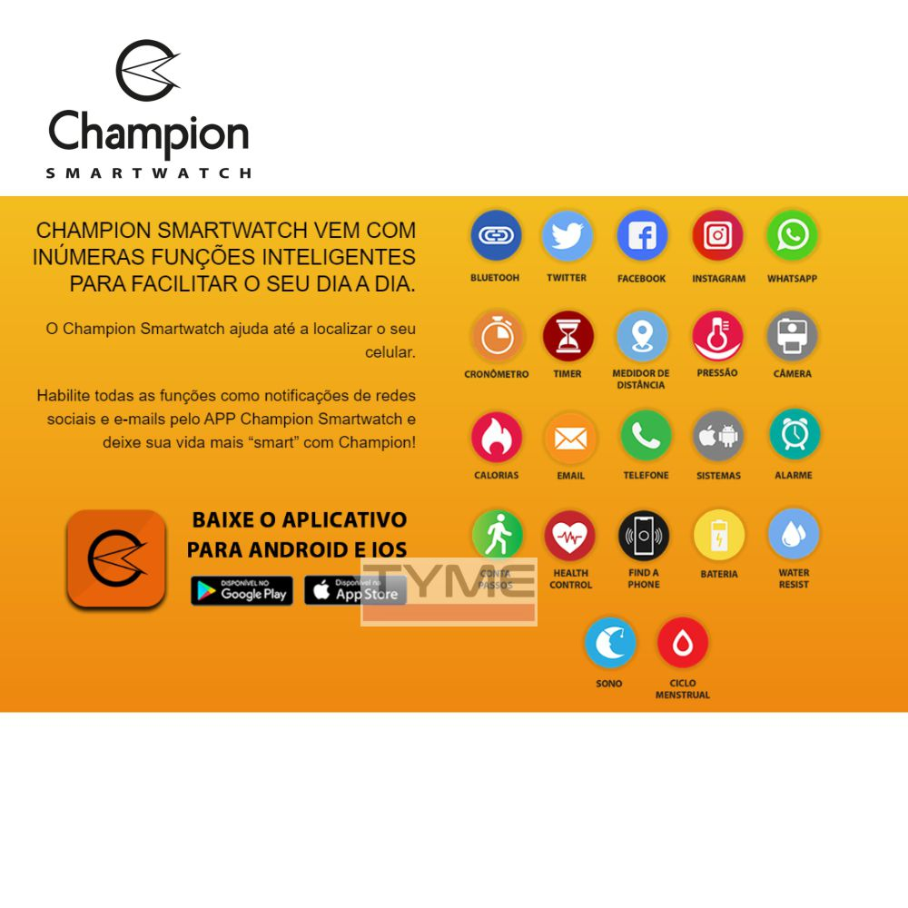 Relógio Champion Smartwatch Bluetooth 4.0 CH50006Z Rose/Preto