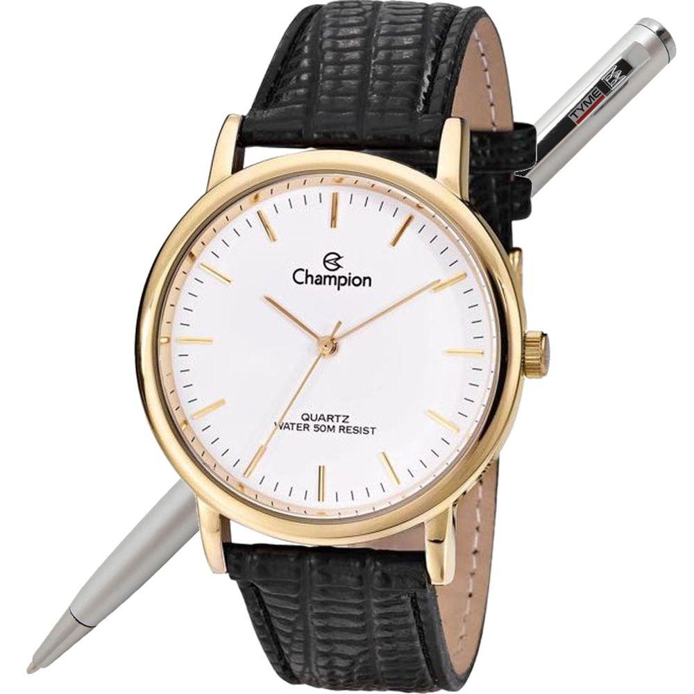 Relógio Champion Unissex Dourado Pulseira Couro CN20042B