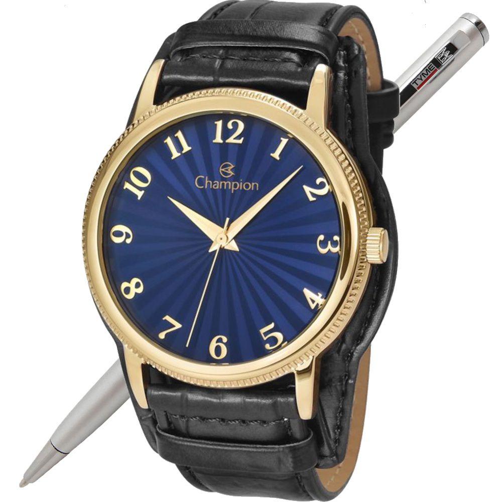 Relógio Champion Unissex Dourado Pulseira Couro CN20300K