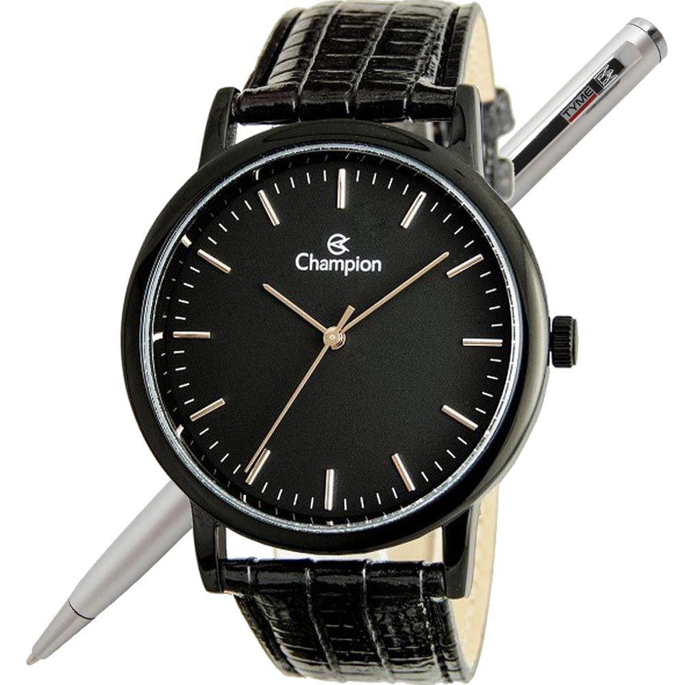 Relógio Champion Unissex Preto Couro CN20042N