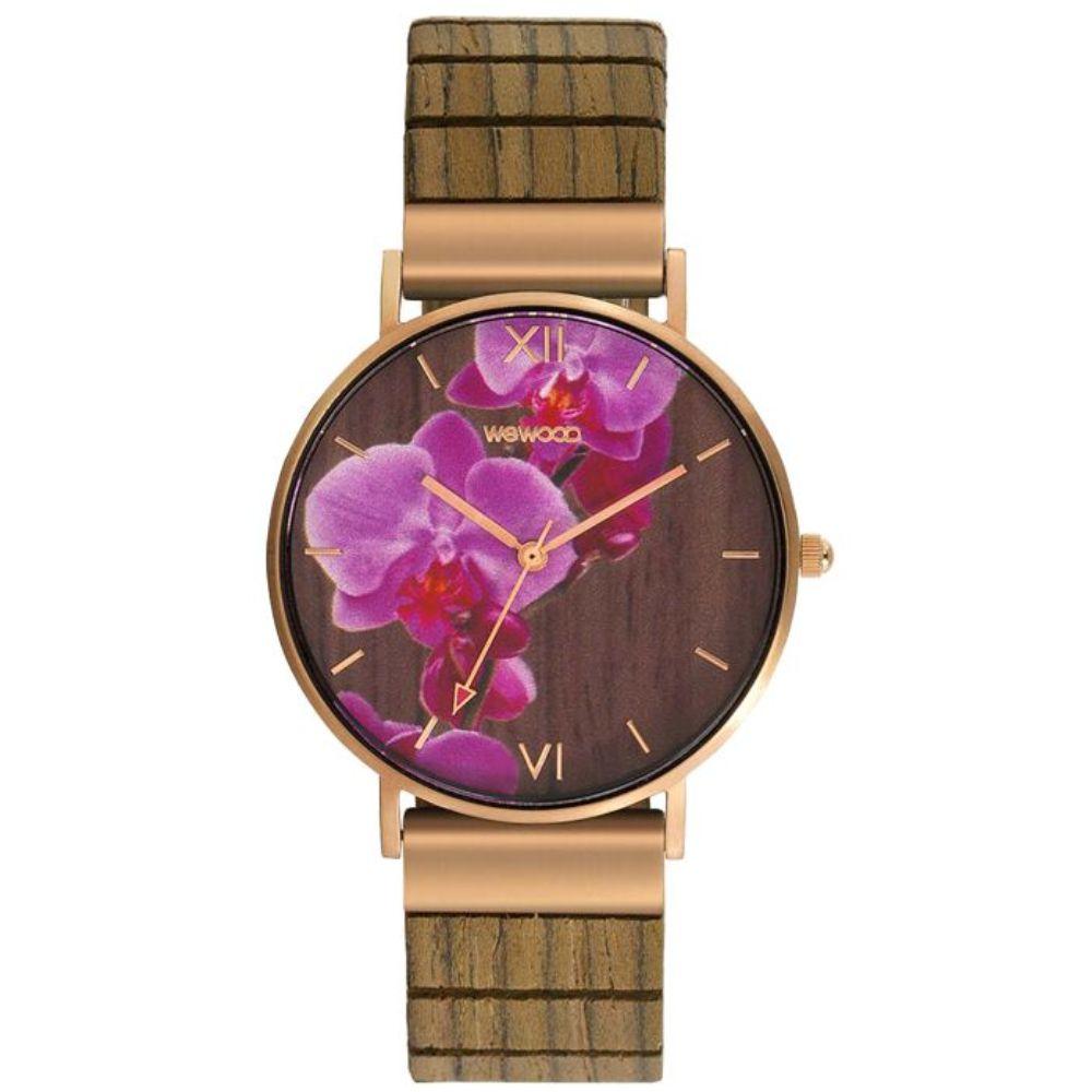 Relógio de Madeira Wewood Feminino Aurora Flower Nut WWAU03