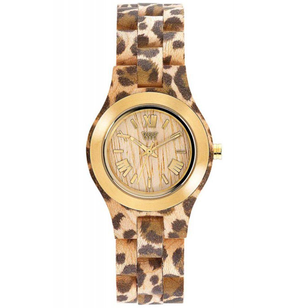 Relógio de Madeira Wewood Feminino Criss Mb Leo Beige Gold WWCR07
