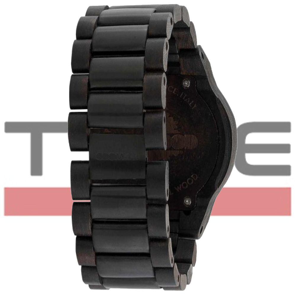 Relógio de Madeira WeWood Masculino Alpha Me Black Rough Gun WWA14