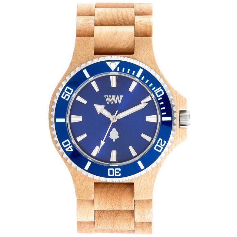 Relógio de Madeira Wewood Masculino Date Mb Beige Blue WWD14
