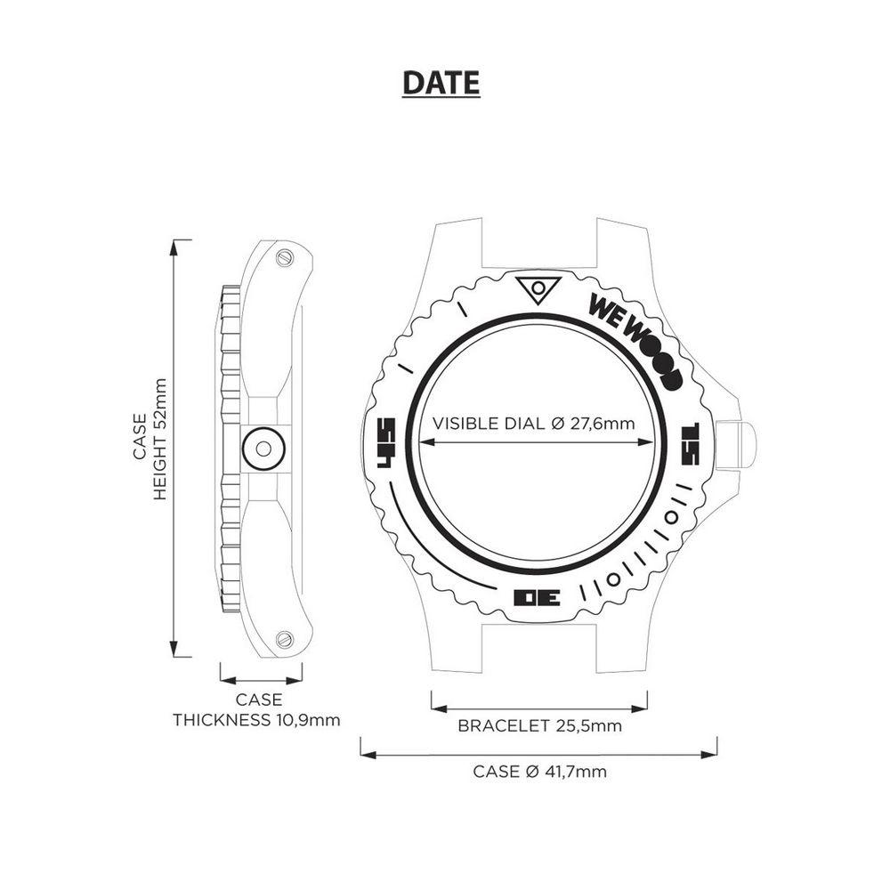 Relógio de Madeira Wewood Masculino Date Mb Nut Rough Gun WWD16