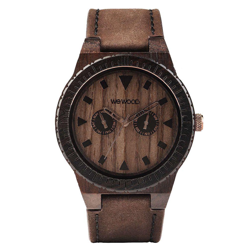 Relógio de Madeira Wewood Masculino Wewood Leo Leather Chocolate WWLE02