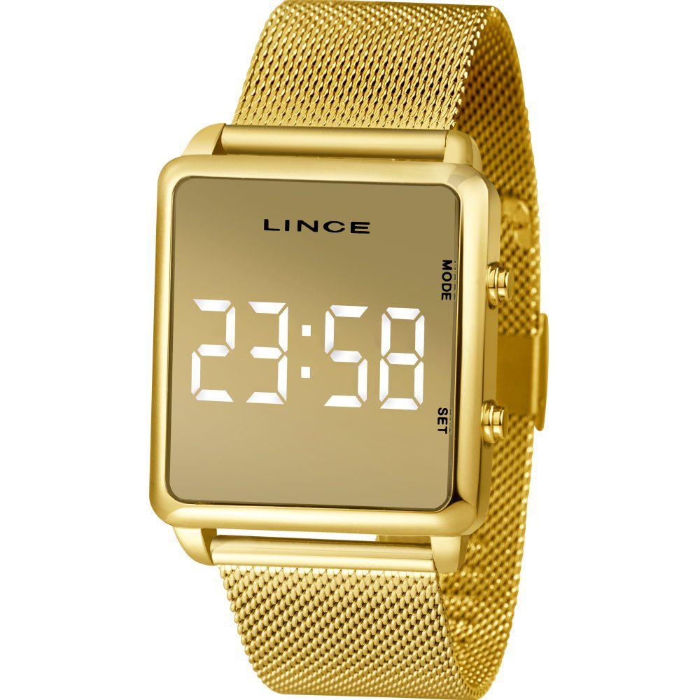 Relógio Lince Led Digital Unissex MDG4619L BXKX Dourado - LED Branco