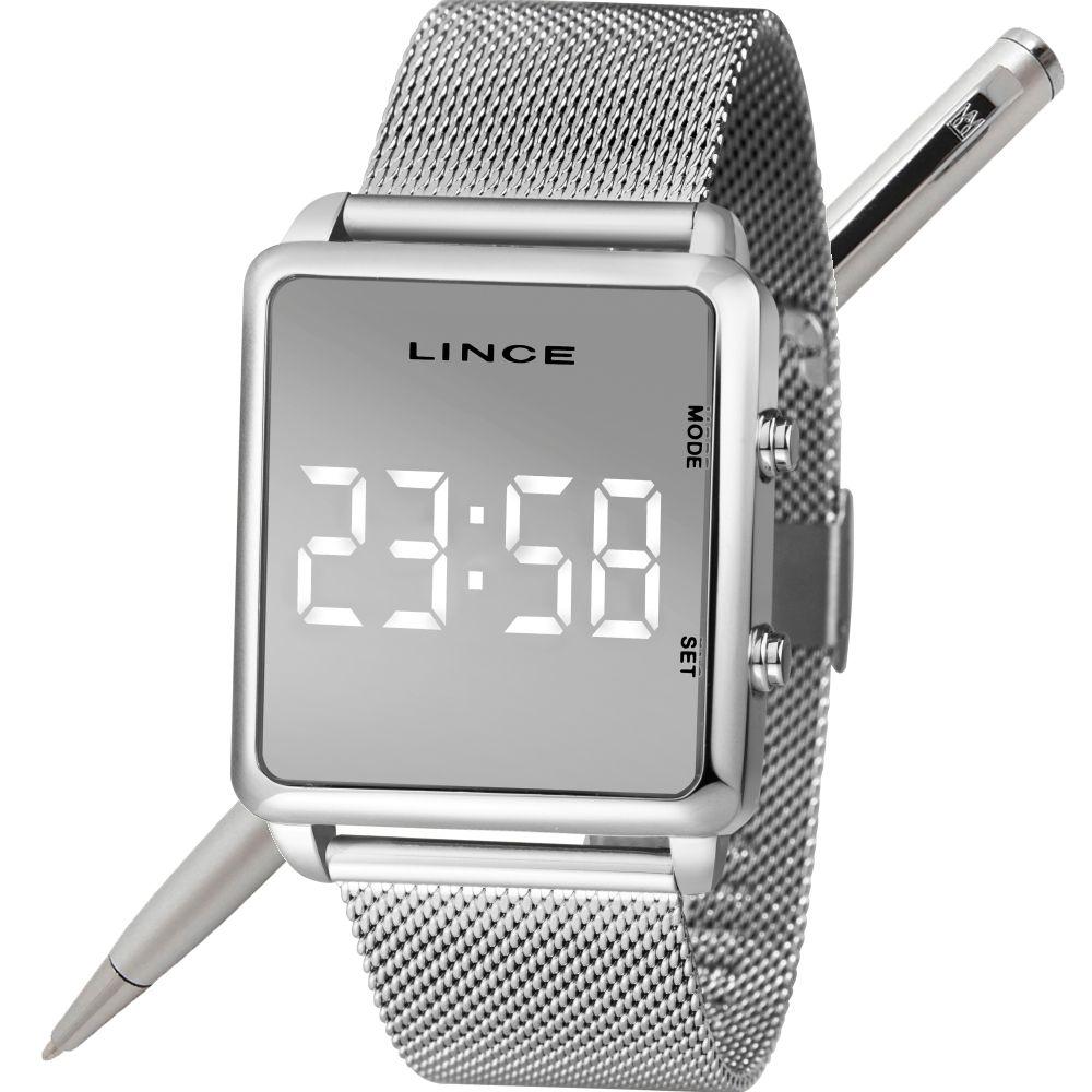 Relógio Lince Led Digital Unissex MDM4619L BXSX Prateado - LED Branco