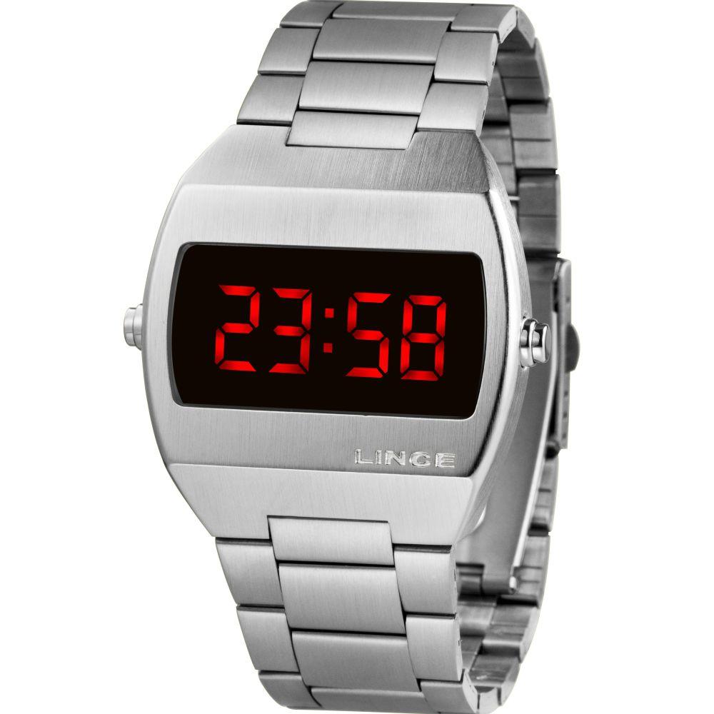 Relógio Lince Led Digital Unissex MDM4620L VXSX Prateado - LED Vermelho