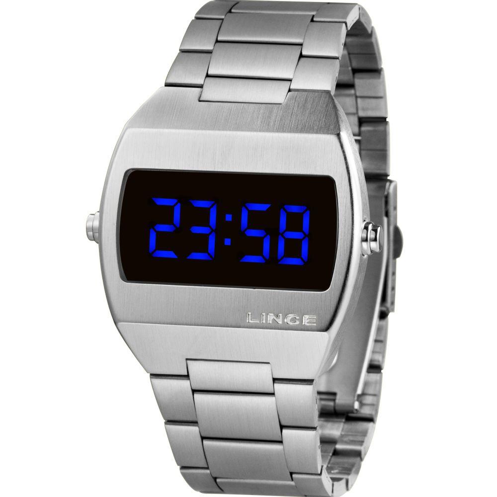Relógio Lince Led Digital Unissex MDM4621L DXSX Prateado - LED Azul