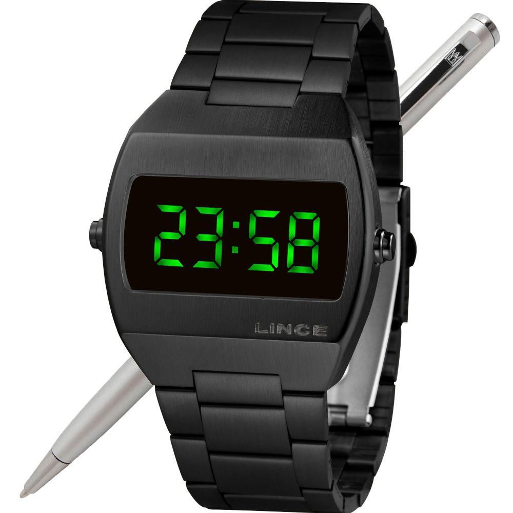 Relógio Lince LED Digital Unissex MDN4622L EXPX Preto - LED Verde