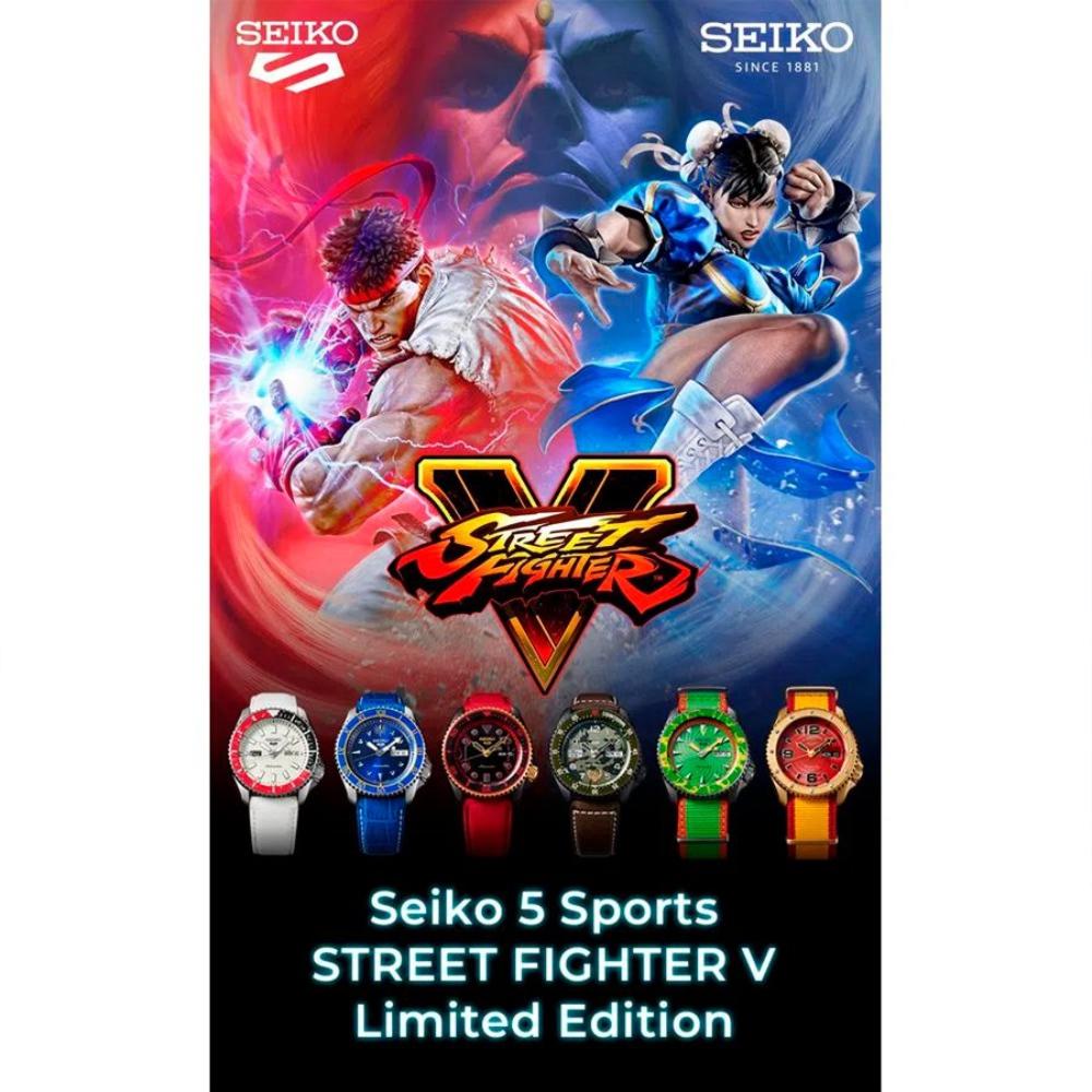 Relogio New Seiko 5 Sports Automático Street Fighter Guile Edição Limitada SRPF21K1 E1NX