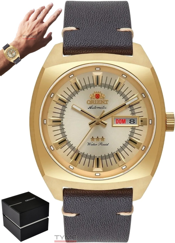 Relógio Orient Masculino Automático 3 Stars F49GC011 C1NK Dourado Couro