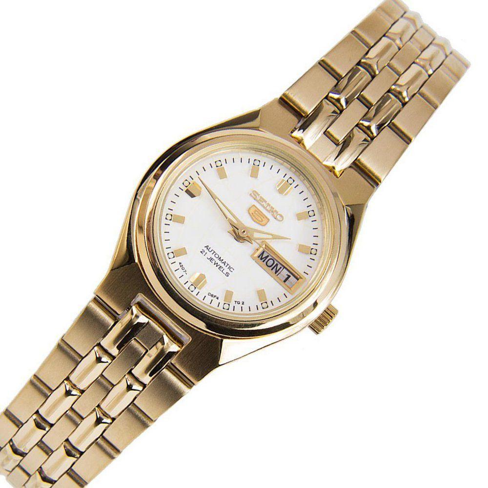 Relógio Seiko 5 Automático Feminino Dourado SYMK46B1B