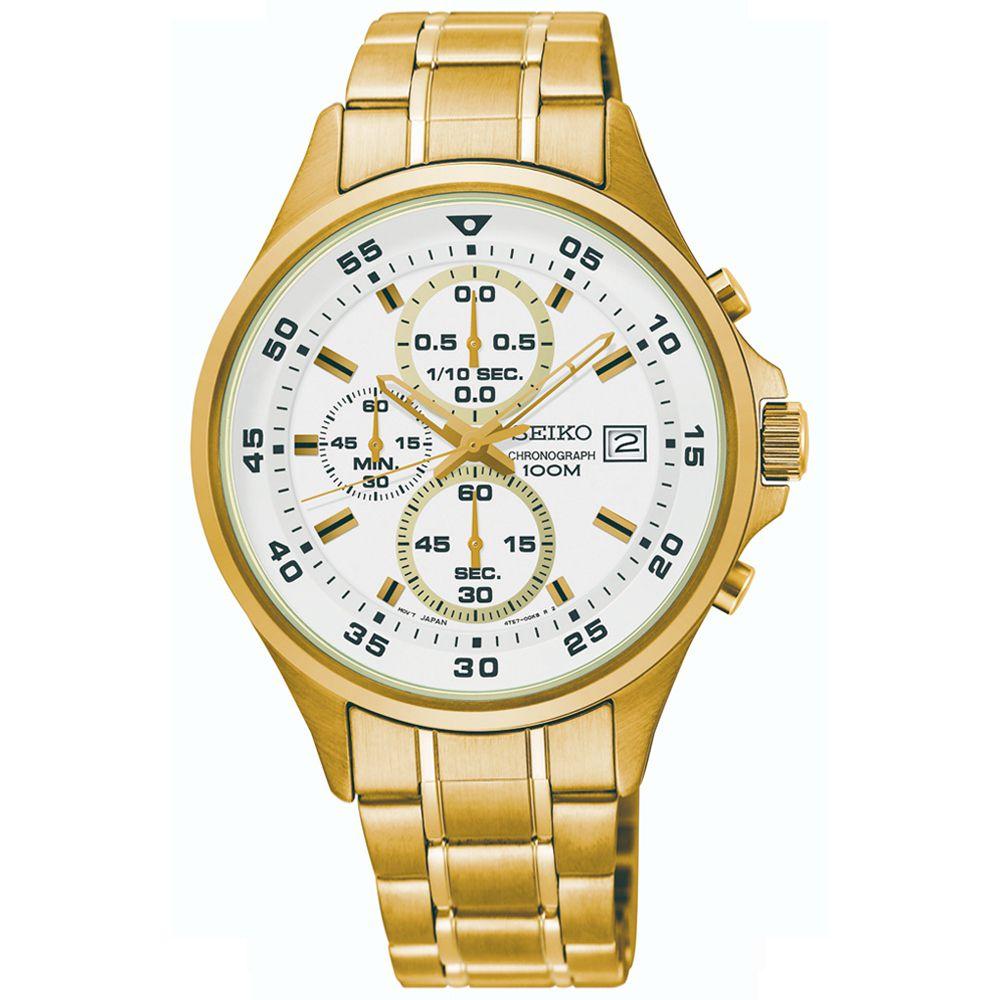 Relógio Seiko Cronógrafo Masculino Dourado SKS632B1 B2KX