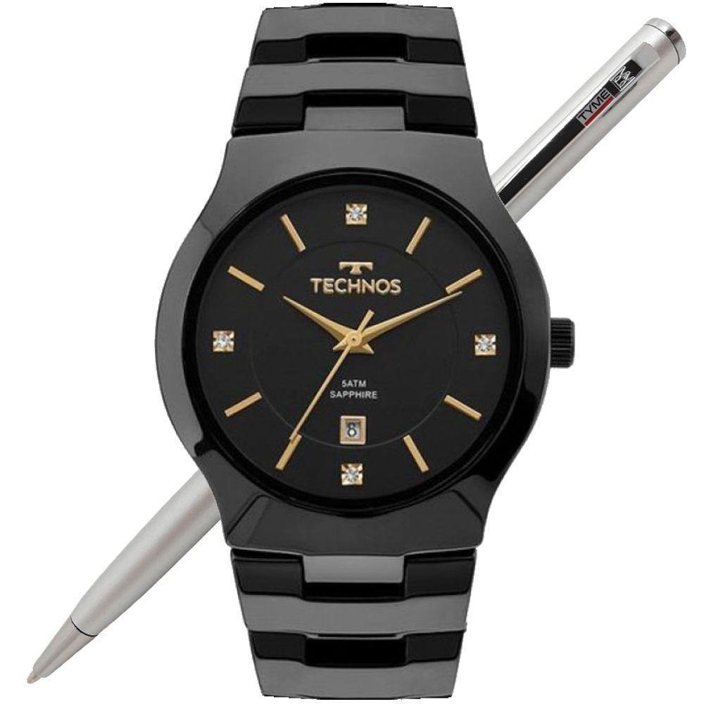 Relógio Technos Feminino Cerâmica Safira Preto GN10AU/4P