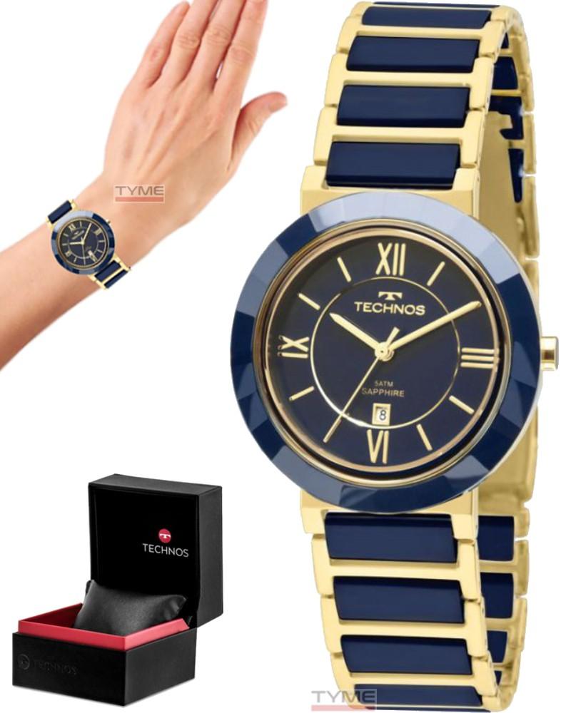 Relógio Technos Feminino Safira Cerâmica Azul 34mm 2015CE/5A