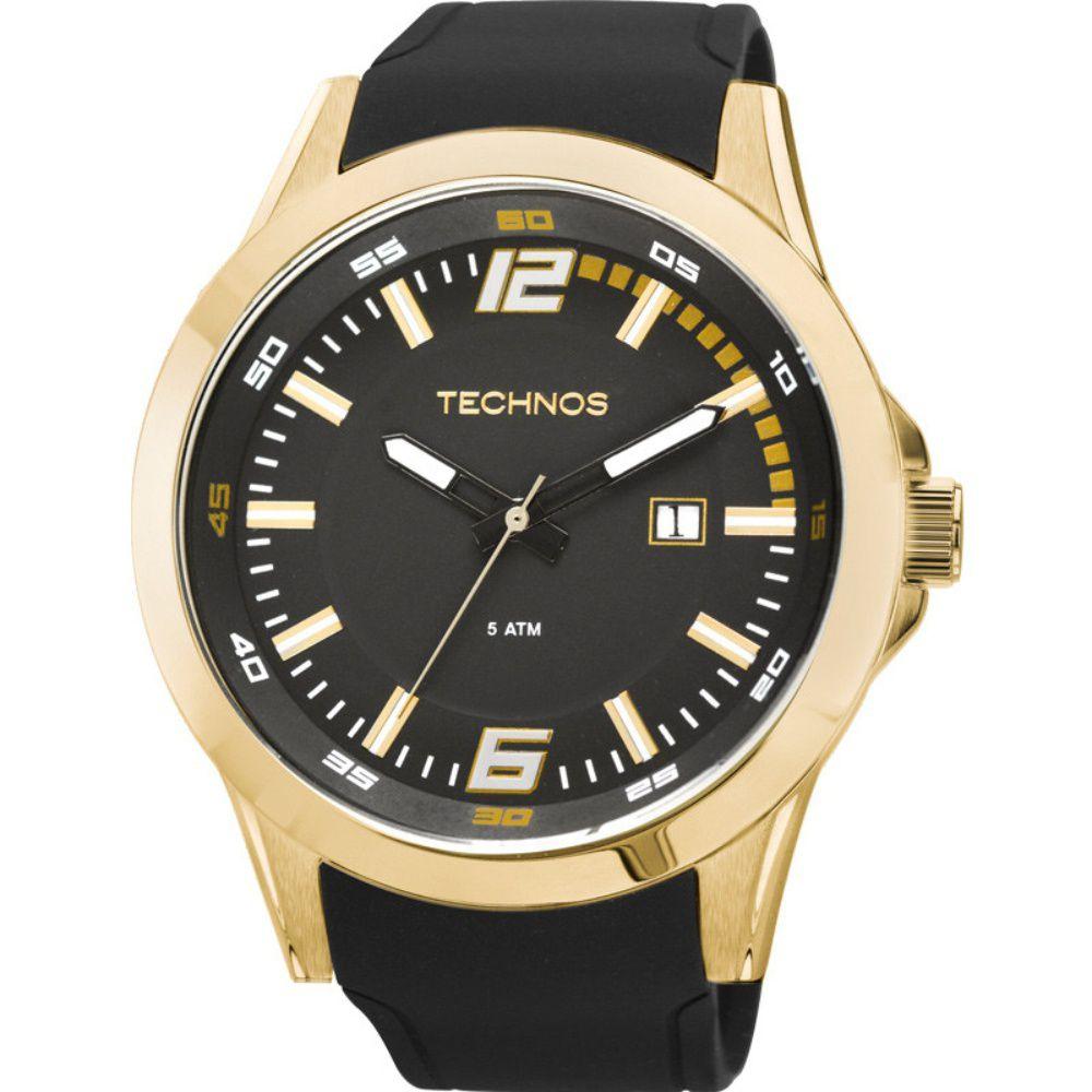 Relógio Technos Masculino Racer 2115KPU/8P Dourado - Pulseira Silicone