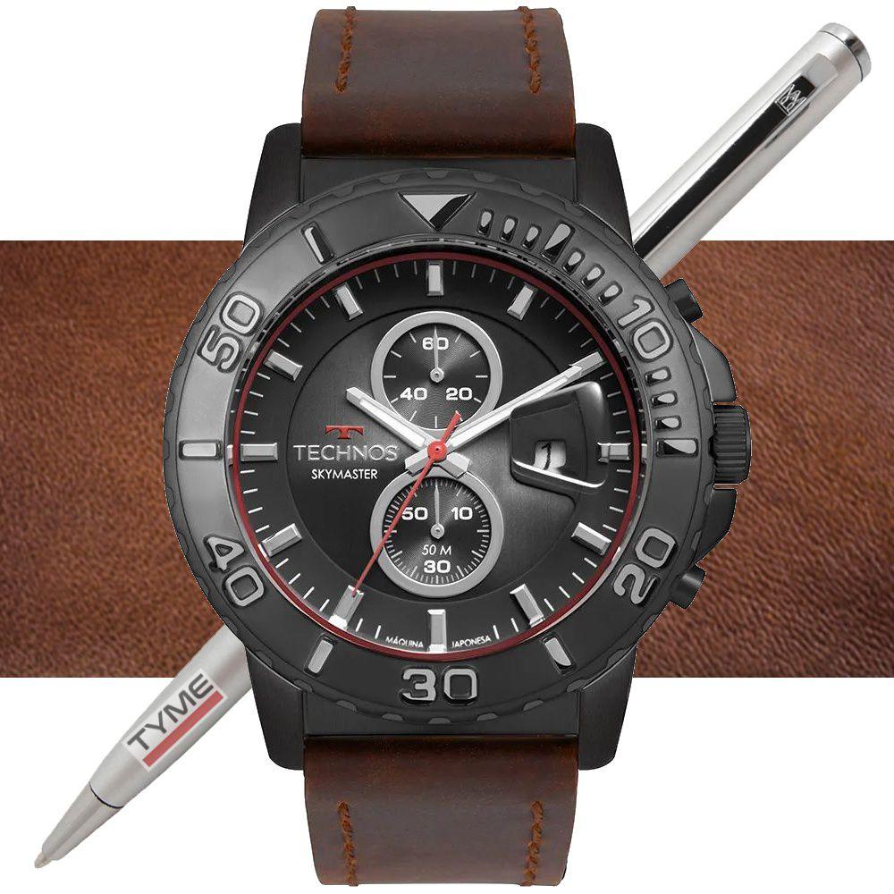 Relógio Technos Masculino Skymaster OS11EB/2P Cronógrafo - Aço Preto