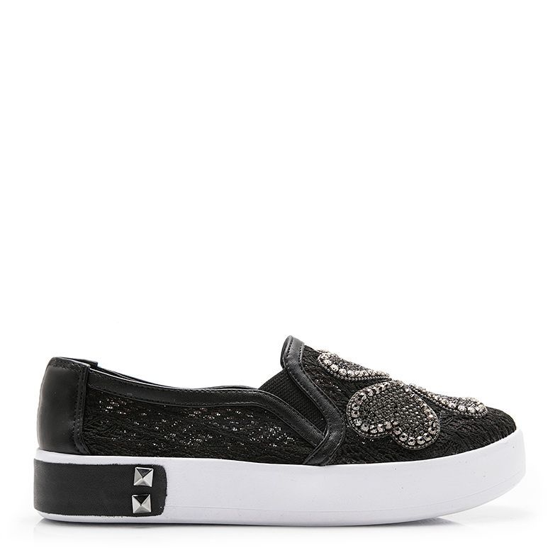 TÊNIS SLIP ON TREVO STRASS
