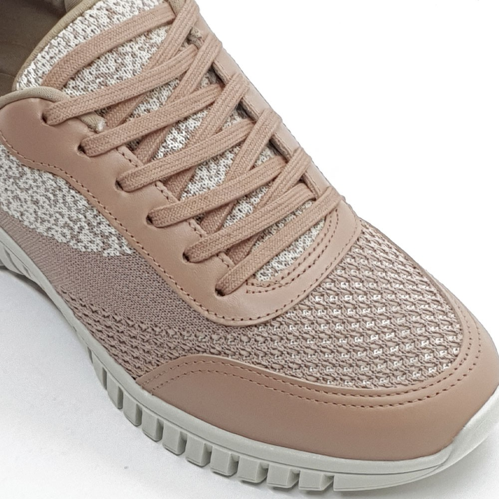 TENIS TRICOT COURO