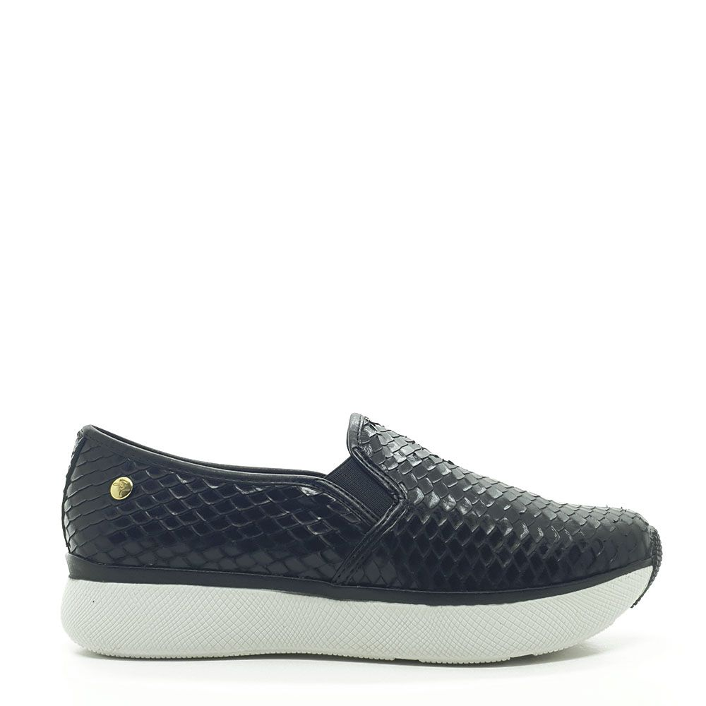 TENIS SLIP ON SNAKE LUX COURO