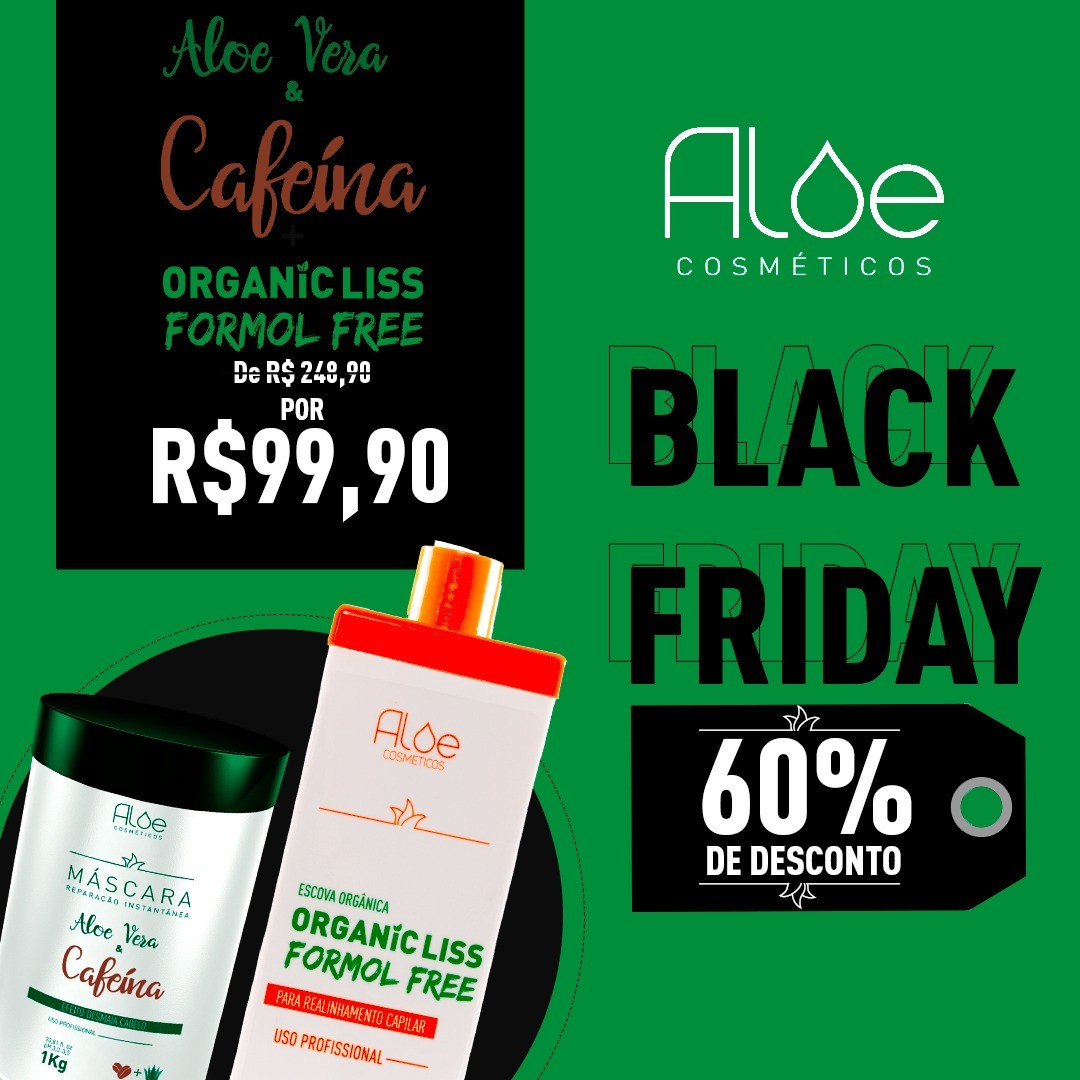 Kit Máscara Aloe Vera & Cafeína + Escova Orgânica sem Formol - [PROMOÇÃO BLACK FRIDAY]