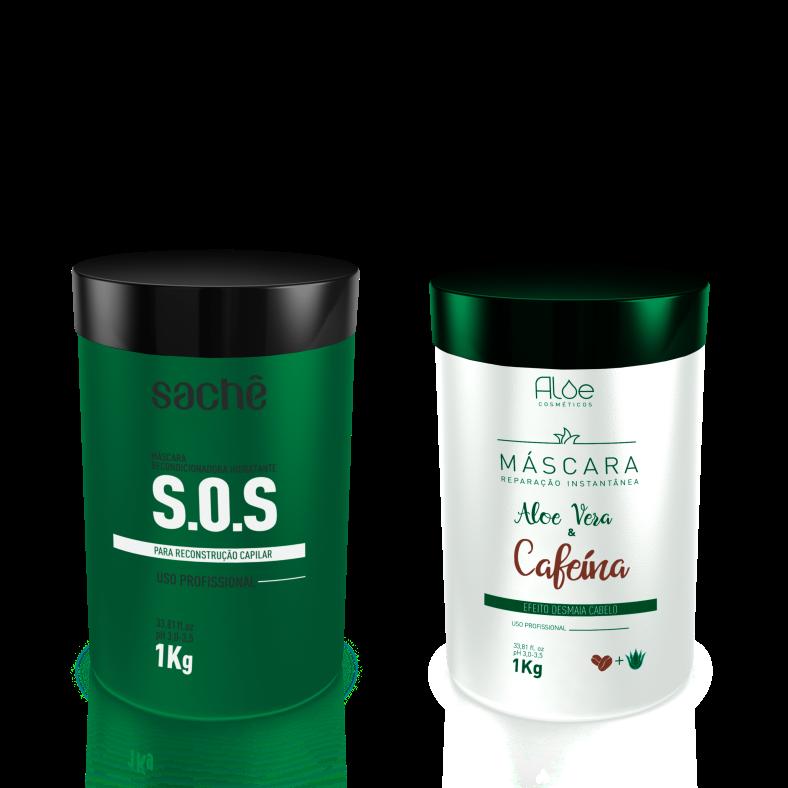 Kit Máscara SOS e Aloe Vera & Cafeína 1Kg