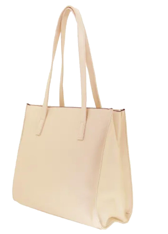 Bolsa de ombro bege com duas alças e ziper