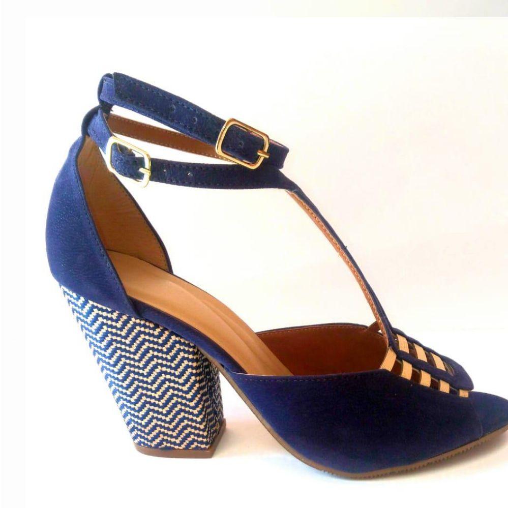 Sandalia Salto Bloco Nobuk Azul