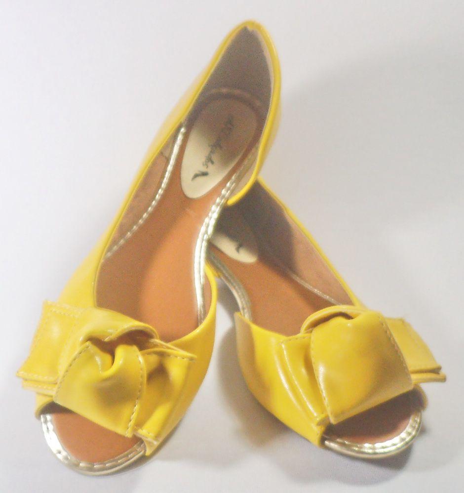 Sapatilha Aberta Amarela com laço  AKCalçados