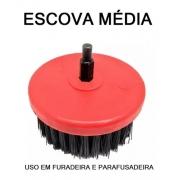 Escova Para Estofados, Sofás, Bancos Nylon - PARAFUSADEIRA - 100mm - Média / Vermelha - COPETEC