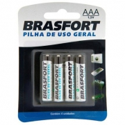 Pilha Palito AAA 1,5V Cartela c/ 4 - Brasfort
