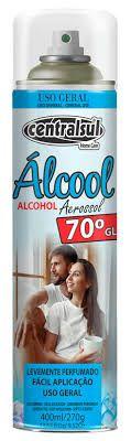 Alcool 70% em Spray Aerossol para Limpeza Geral 400ml Centralsul