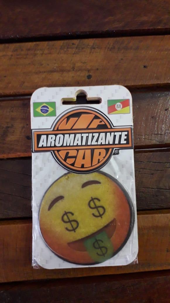 AROMATIZANTE CAR - FRAGRANCIA  CONFORT - Modelo EMOJI CARINHA COM BOCA DE DINHEIRO