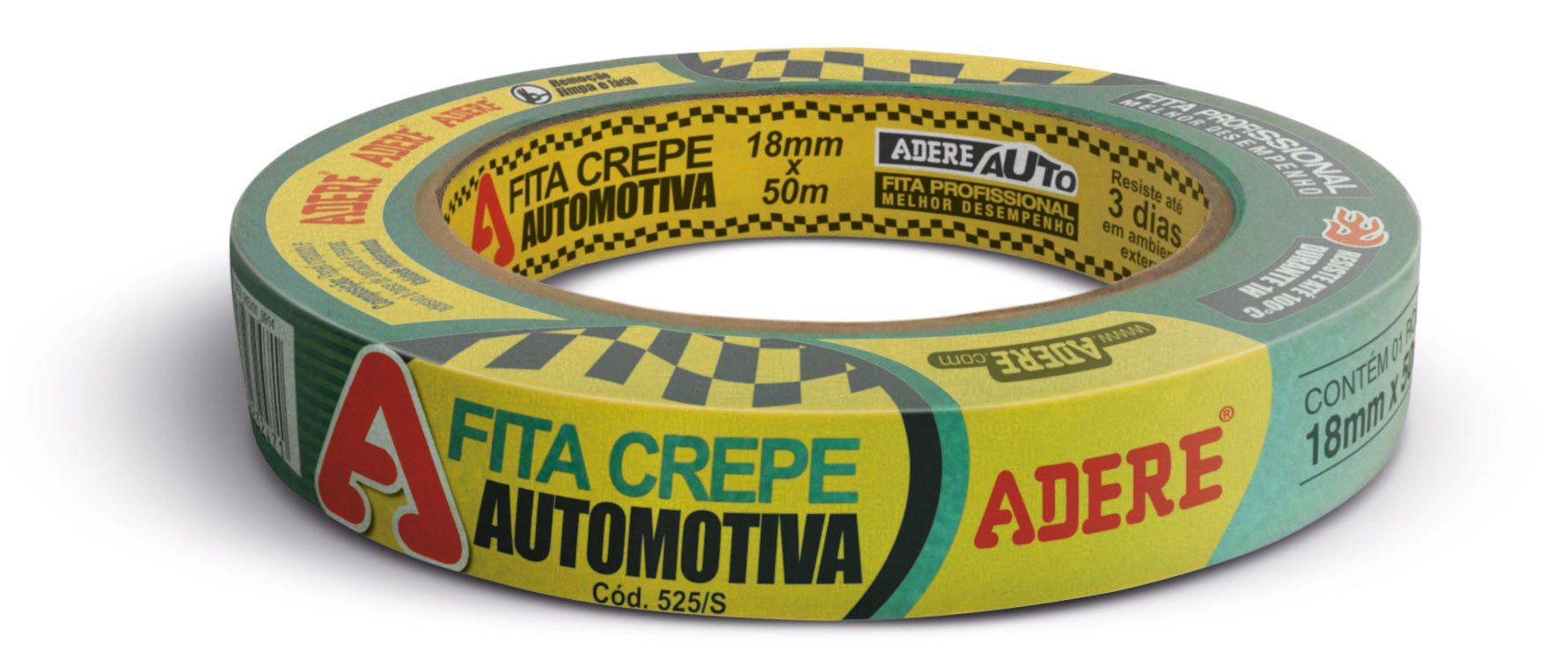 FITA CREPE AUTOMOTIVA VERDE 18MMX50MM ADERE