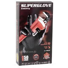 Luva Nitrílica Preta Super Glove Automotivo Tamanho 9 - 50 Unidades Ca 38645