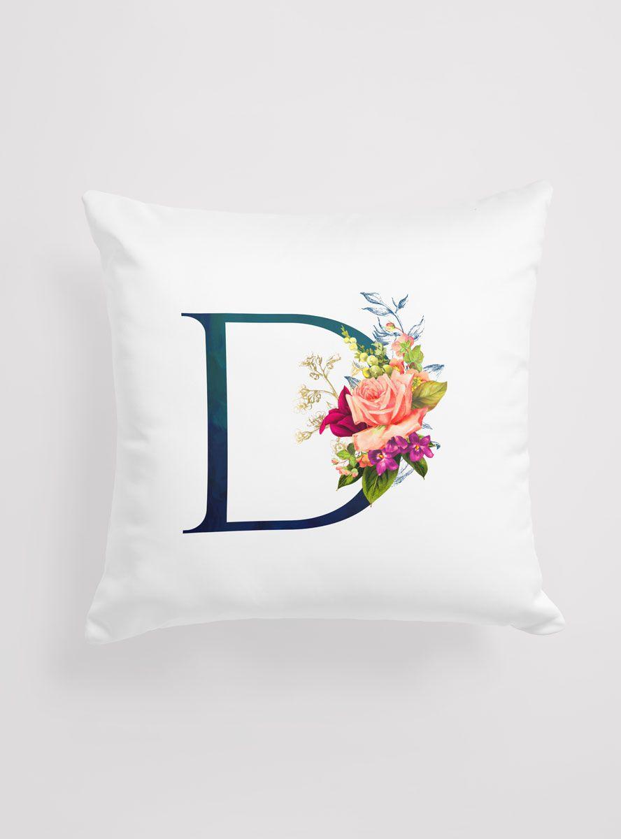 Capa de Almofada Personalizada Inicial Flowers