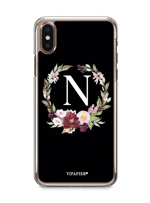 Case iPhone X Flower Black