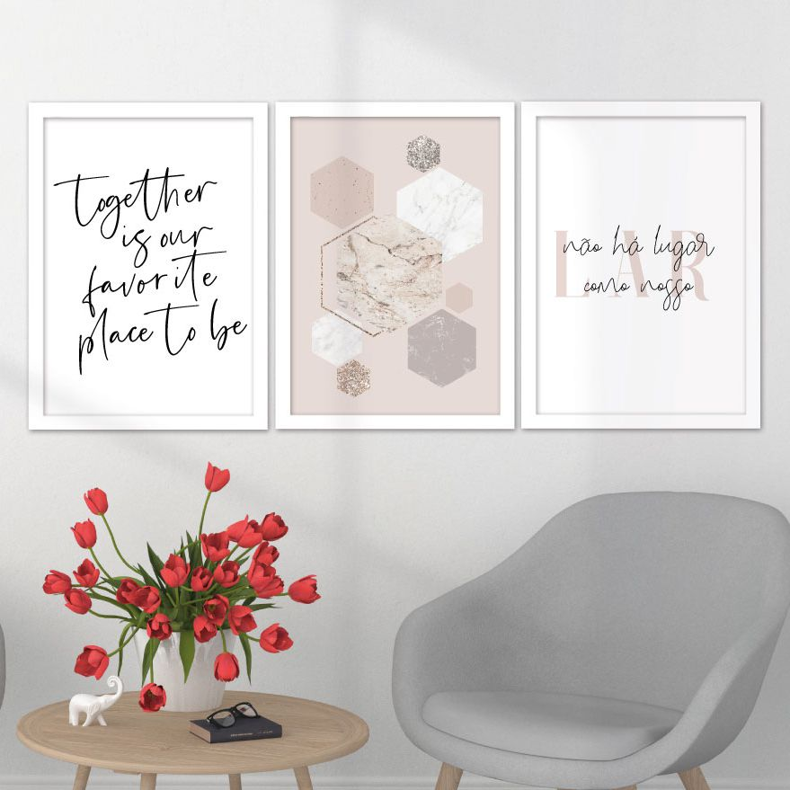 Kit de Quadros Decorativos com Moldura - Lar, Família, Together, Our Favorite Place
