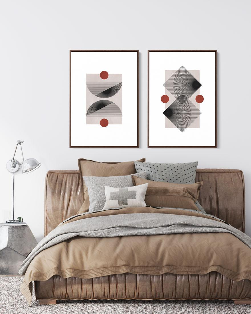Kit Quadros Decorativos Abstratos - Formas em Movimento