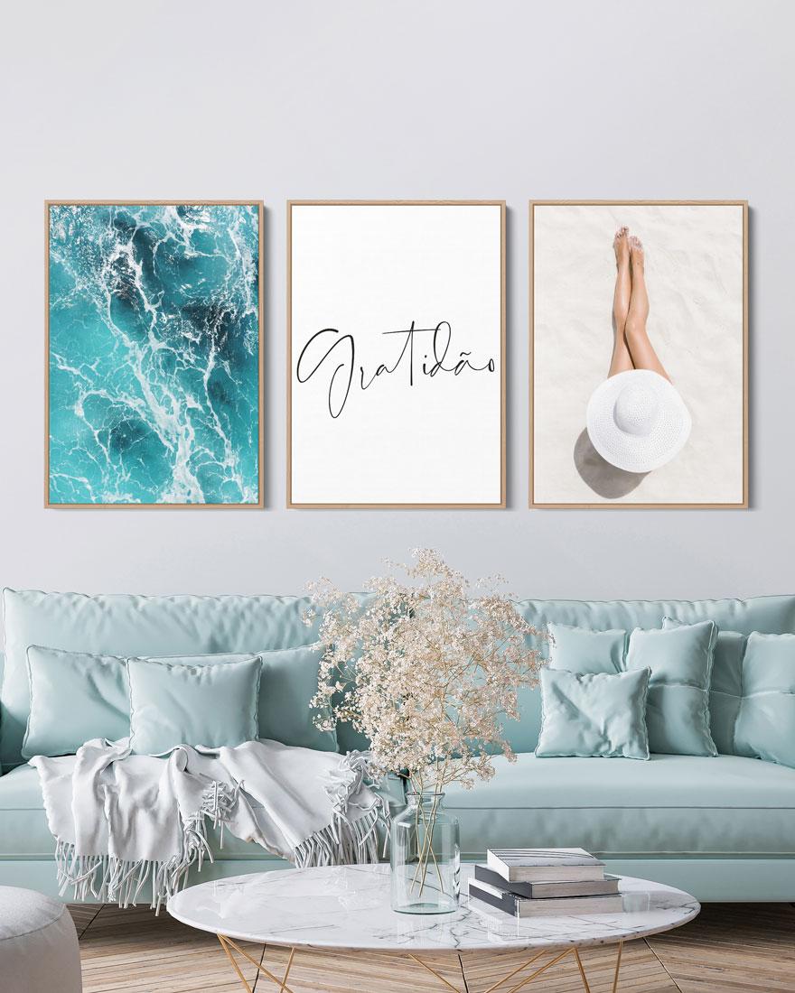 Kit Quadros Decorativos Mar - Gratidão