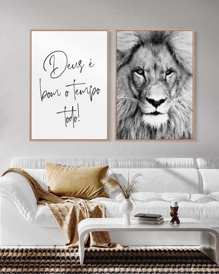 Dupla de Quadros Cristãos Deus é Bom e Leão