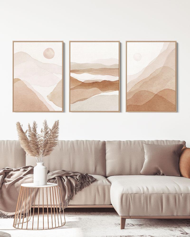 Kit 3 Quadros Abstratos Deserto